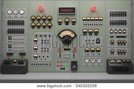 Vintage Control Room Background Concept 3d Illustration