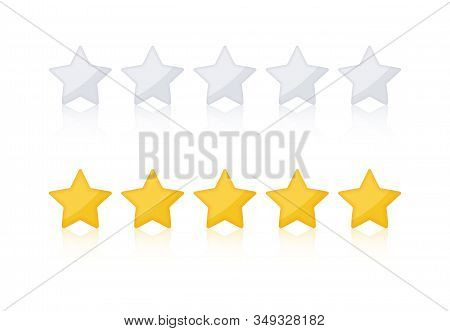 Rating Golded Stars. Website Product Review Stars. Golden Rating Star. With Shadows Makes The Stars