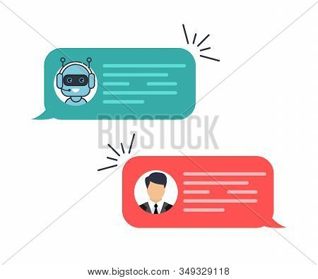 Chat Bot Robot Concept, Dialog Help Service. Man Chatting With Chat Bot. Dialog With Bot. Customer S
