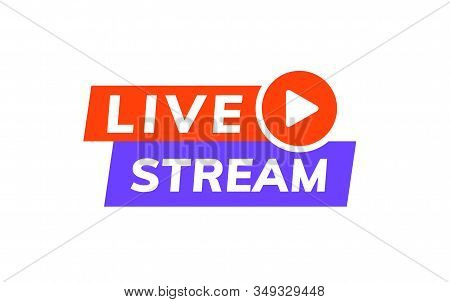 Live Stream Icon Vector Logo. Video Broadcast Live Stream Tv News Online Template Design