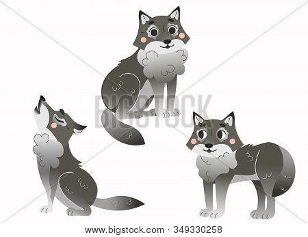 Cute Cartoon Grey Wolfs Vector Set. Wolfs In Different Postures.  Sitting, Howling, Standing Wolf. F