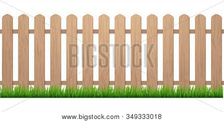 Fence With Grass. Wooden Picket Background Isolated Farm Garden Barier Illustration