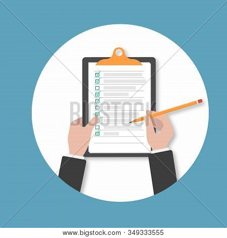 Clipboard. Hand Filling Checklist On Clipboard.businessman Hands Holding Clipboard Checklist With Pe