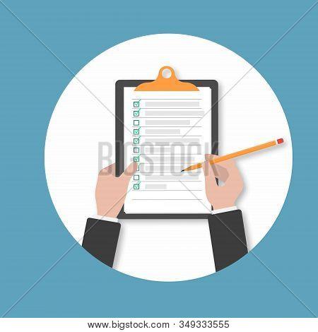 Clipboard. Hand Filling Checklist On Clipboard.businessman Hands Holding Clipboard Checklist With Pe