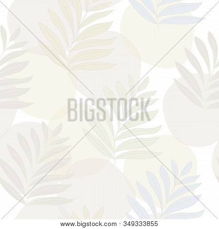 Vector Pastel Leaves In Green Beige Blue On Beige Gold White Background Seamless Repeat Pattern. Bac