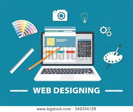 Web Designing. Responsive Web Design Flat Vector, Web Design Technology, Including Laptop. Elements