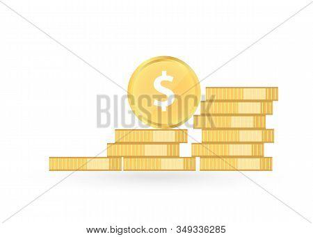 Coins Dollar. Stack Of Golden Coin. Golden Penny Cash Pile, Treasure Heap