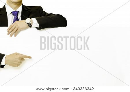 Businessman Hand Pointing His Finger On White Paper In White Background.
