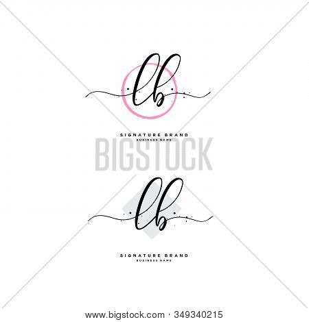 L B Lb Initial Letter Handwriting And  Signature Logo. A Concept Handwriting Initial Logo With Templ