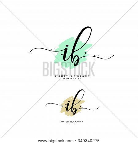 I B Ib Initial Letter Handwriting And  Signature Logo. A Concept Handwriting Initial Logo With Templ