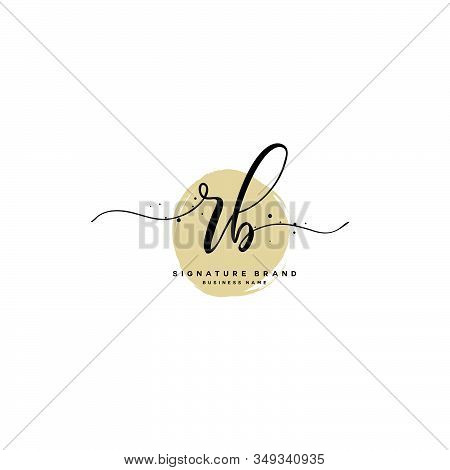 R B Rb Initial Letter Handwriting And  Signature Logo. A Concept Handwriting Initial Logo With Templ