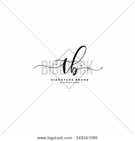 T B Tb Initial Letter Handwriting And  Signature Logo. A Concept Handwriting Initial Logo With Templ
