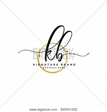 K B Kb Initial Letter Handwriting And  Signature Logo. A Concept Handwriting Initial Logo With Templ