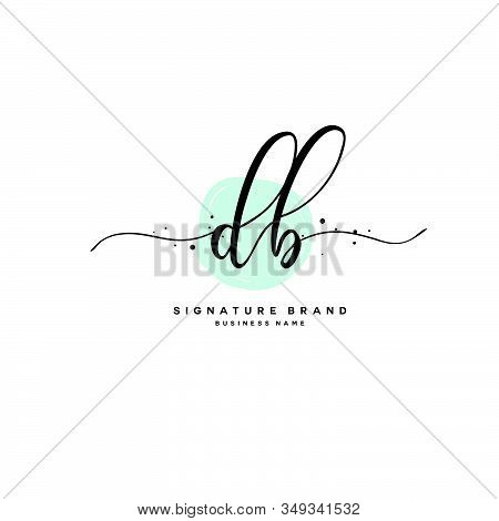 D B Db Initial Letter Handwriting And  Signature Logo. A Concept Handwriting Initial Logo With Templ