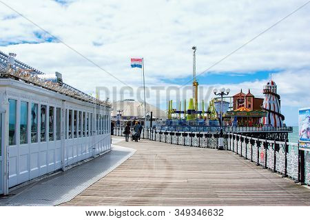Brighton, East Sussex, Uk - June 21 : View Of Brighton Pier In East Sussex On June 21, 2019