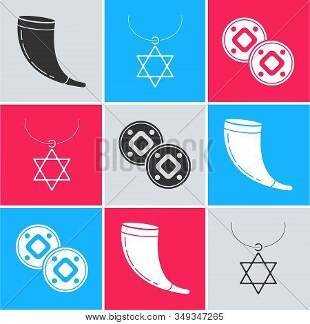 Set Traditional Ram Horn, Shofar, Star Of David Necklace On Chain And Jewish Coin Icon. Vector