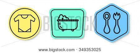 Set Line Baby Onesie, Baby Bathtub And Baby Cutlery With Fork And Spoon. Colored Shapes. Vector