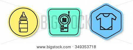 Set Line Baby Bottle, Baby Monitor Walkie Talkie And Baby Onesie. Colored Shapes. Vector