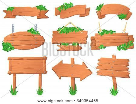 Wooden Signboard With Leaves. Tropical Leafs On Wood Board, Green Label Sign And Jungle Forest Point