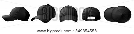 Black Cap Mockup. Baseball Caps, Sport Hat Template And Realistic 3d Top View Cap Vector Illustratio