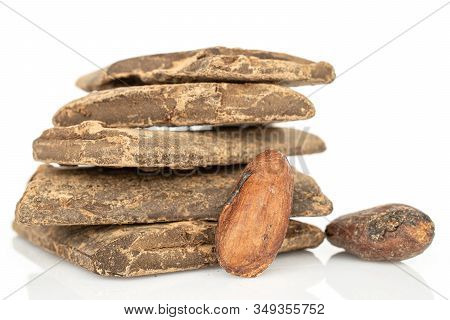 Two Whole Fresh Brown Cocoa Beans With Cocoa Butter Bars Isolated On White Background