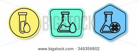 Set Line Oil Petrol Test Tube, Oil Petrol Test Tube And Antifreeze Test Tube. Colored Shapes. Vector