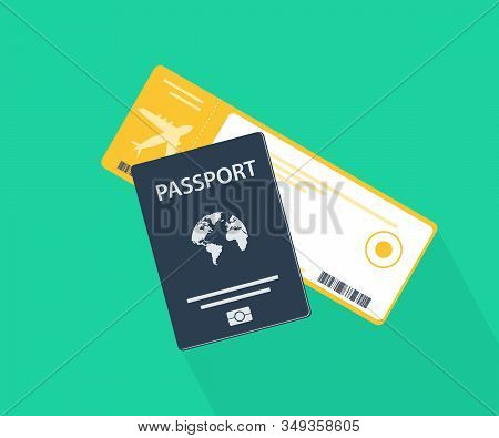 Passport With Tickets. Holiday And Vocation Concept.flat Design Citizenship Id For Traveler Isolated