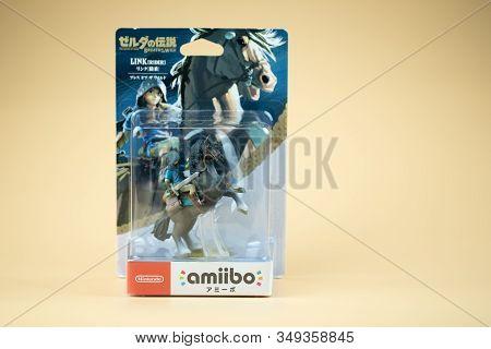 Bangkok, Thailand - February 6, 2020. Figure Amiibo Game Of Link Zelda In Packaging For Nintendo Swi