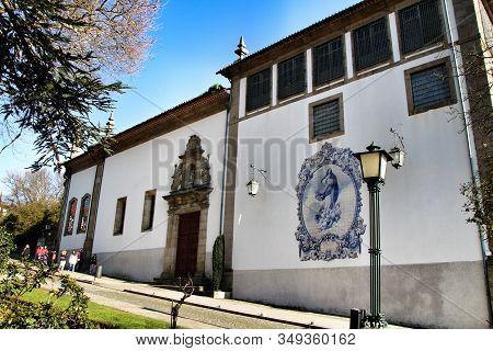 Guimaraes, Porto, Portugal- January 4, 2020: Beautiful Old Stone Facade Of Nossa Senhora Do Carmo Ch