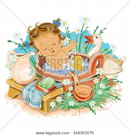 Little Girl Bathes In A Basin In The Street Among The Flowers, A Little Duckling Sits With Her In Th