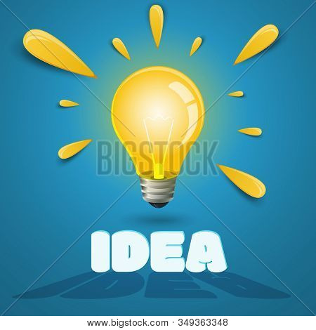 Vector Light Bulb With Light Rays. The Concept Of A New Idea, Inspiration, Insight. Stock Illustrati