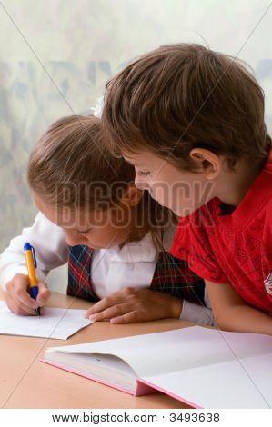 Elementary School. Two Pupils