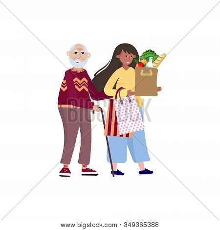 Volunteer Helping Old Man Carry Products. Social Worker Takes Care About Senior Man And Goes To The