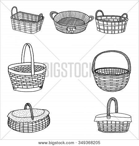 Set Of Wicker Baskets.contour Drawing.hand Drawing With A Line.black And White Image.baskets For Pic
