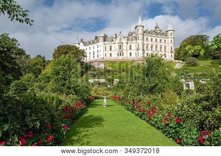 Sutherland, Scotland - September 15, 2018: Dunrobin Castle The Family Seat Of The Earl Of Sutherland