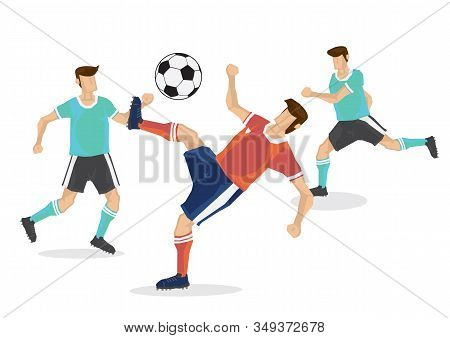Soccer Professional Player Playing With His Competitor. Flat Isolated Cartoon Vector Illustration.