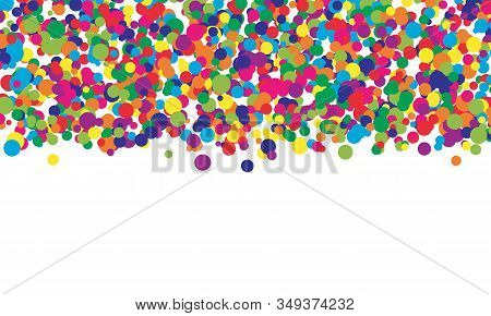 Falling Color Dots. Fun Background. Vector Illustration. Abstract Bright Colored Dotted Circles. Eps