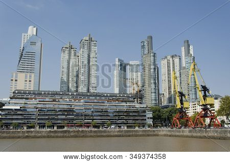Capital Federal, Buenos Aires / Argentina; March 23, 2015: Puerto Madero, Modern Buildings And Color