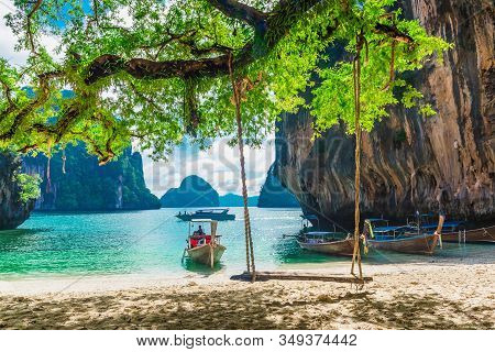 Wooden Swing For Traveler Joy Relaxing, Beautiful Nature Scenic Landscape Lao Lading Island Beach, A