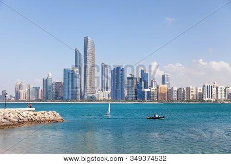 Abu Dhabi, Uae - January 8, 2018: Abu Dhabi Cityscape During Sunny Day