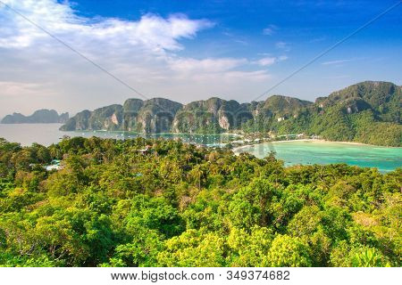Phi Phi Island View On Tonsai Village. Koh Phi Phi Don, Viewpoint. Thailand.