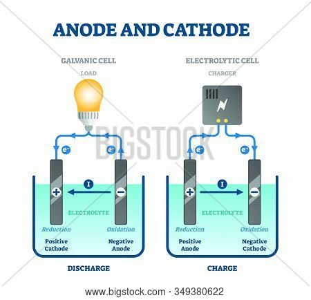 Anode And Cathode Scientific Physics Education Diagram, Vector Illustration Labeled Scheme. Circuit