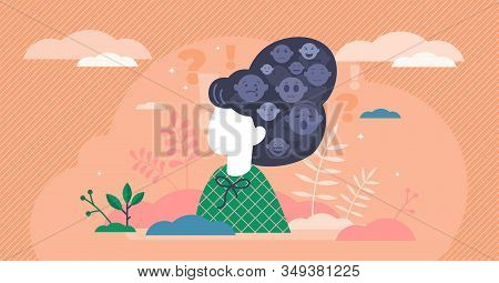 Emotions Stylized Art, Flat Tiny Person Vector Illustration. Creative Emotional Symbols In The Femal