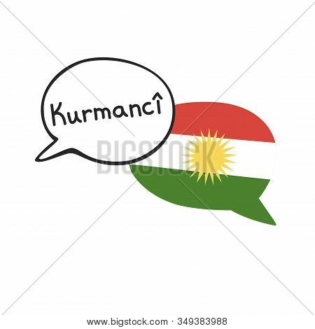 Translation: The Kurdish Language. Vector Illustration Of Two Doodle Speech Bubbles With A National