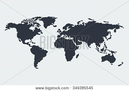 World Map Vector, Isolated On White Background. Flat Earth, Gray Map Template For Web Site Pattern G