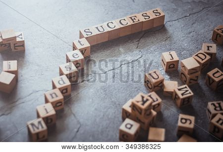Top View Of Wood Cube Letter Word Of Mindset And Success. Idea Of Motivation And Inspiration In Busi