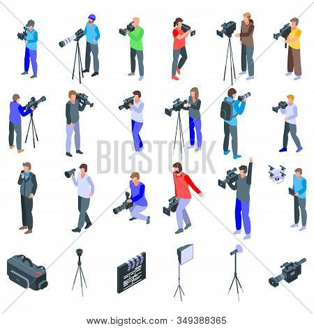 Cameraman Icons Set. Isometric Set Of Cameraman Vector Icons For Web Design Isolated On White Backgr
