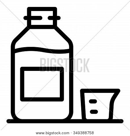 Dose Syrup Bottle Icon. Outline Dose Syrup Bottle Vector Icon For Web Design Isolated On White Backg