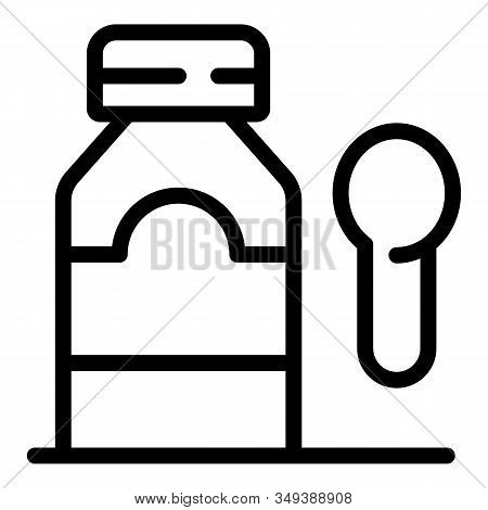 Cure Syrup Bottle Icon. Outline Cure Syrup Bottle Vector Icon For Web Design Isolated On White Backg