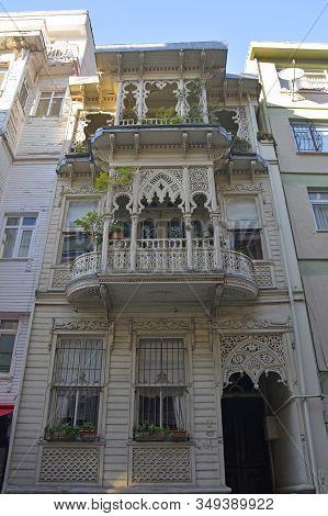 An Historic Wooden Building In The Residential Moda Neighbourhood Of Kadikoy In Istanbul, Turkey